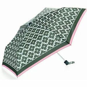 Kate Spade Umbrella Foldable Logo Green Pink NEW